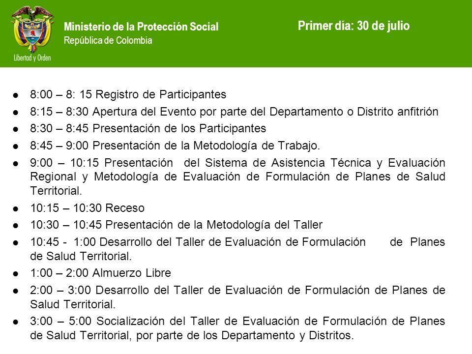 Primer día: 30 de julio 8:00 – 8: 15 Registro de Participantes