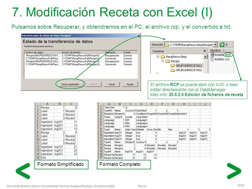 7. Modificación Receta con Excel (I)