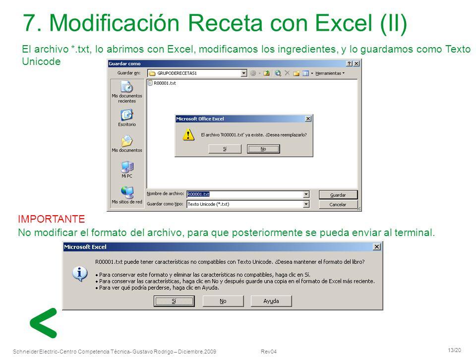 7. Modificación Receta con Excel (II)