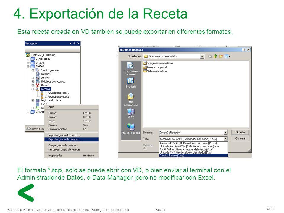 4. Exportación de la Receta