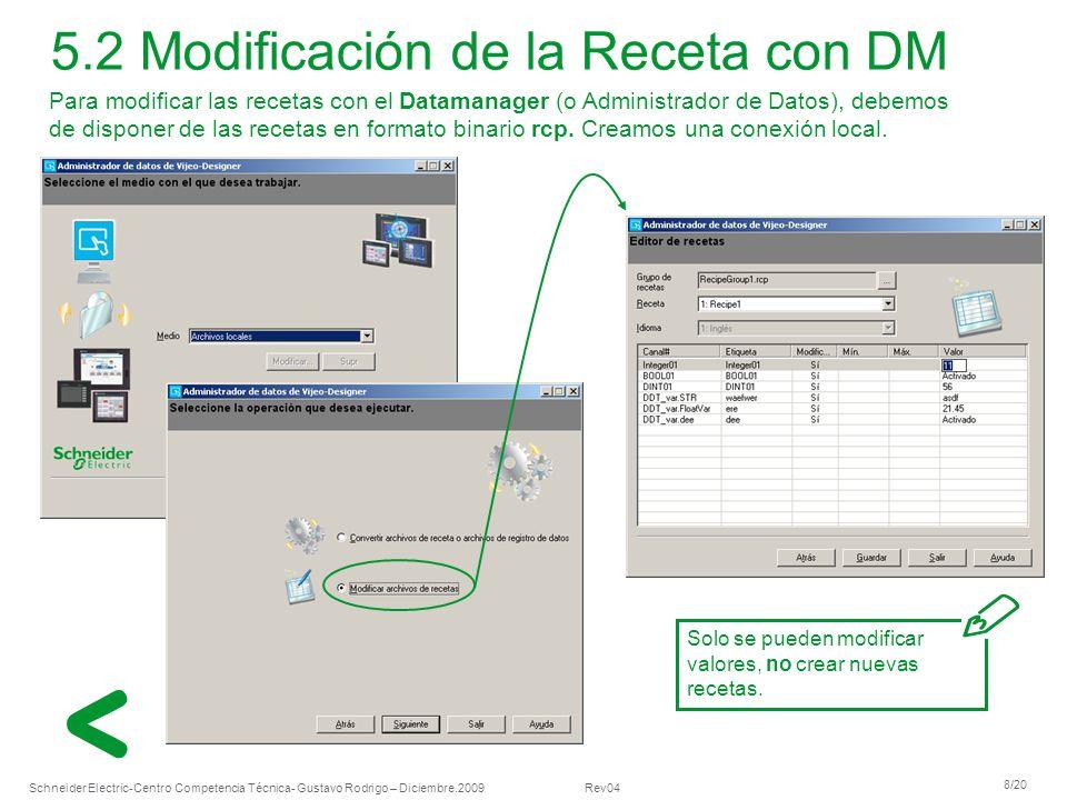 5.2 Modificación de la Receta con DM