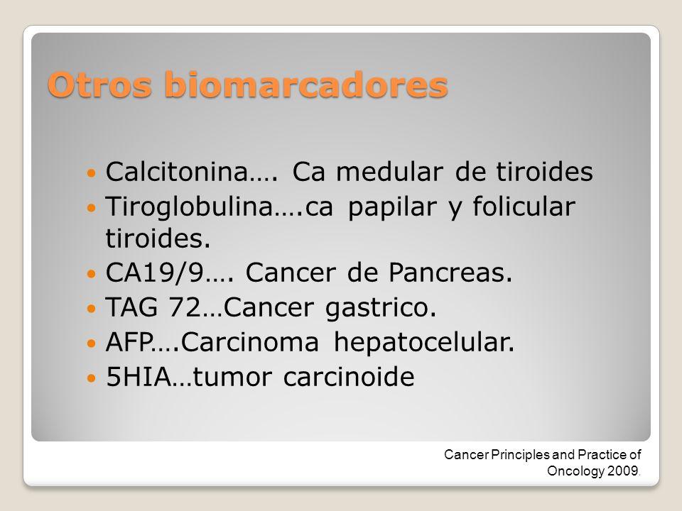 Otros biomarcadores Calcitonina…. Ca medular de tiroides