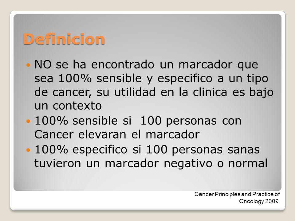 Definicion NO se ha encontrado un marcador que sea 100% sensible y especifico a un tipo de cancer, su utilidad en la clinica es bajo un contexto.