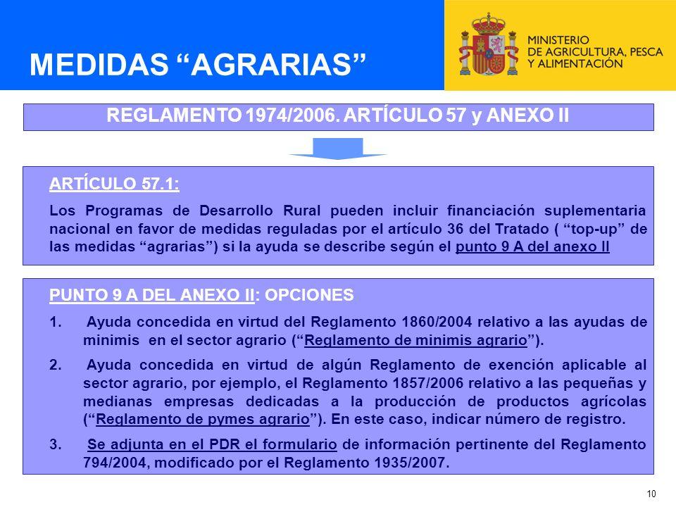 REGLAMENTO 1974/2006. ARTÍCULO 57 y ANEXO II