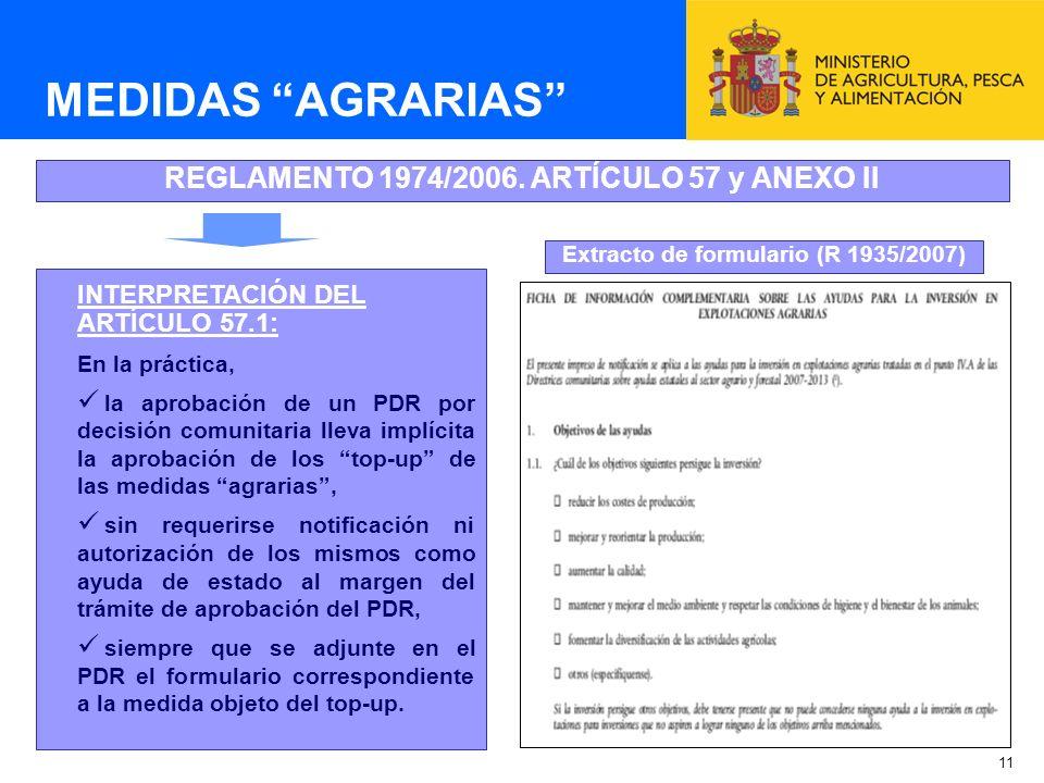 MEDIDAS AGRARIAS REGLAMENTO 1974/2006. ARTÍCULO 57 y ANEXO II