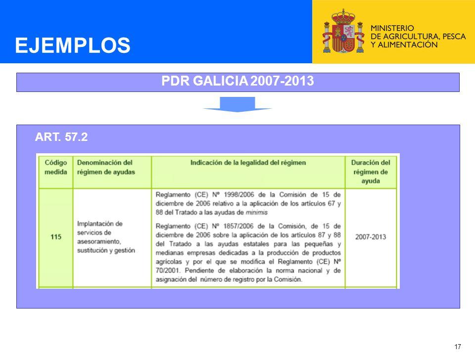 EJEMPLOS PDR GALICIA 2007-2013 ART. 57.2