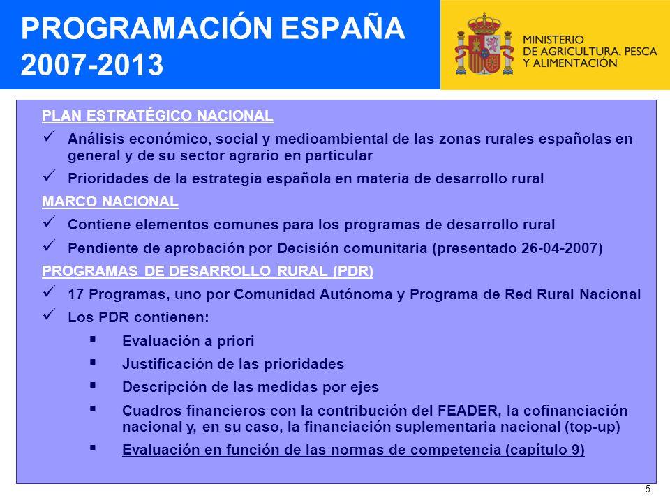 PROGRAMACIÓN ESPAÑA 2007-2013 PLAN ESTRATÉGICO NACIONAL