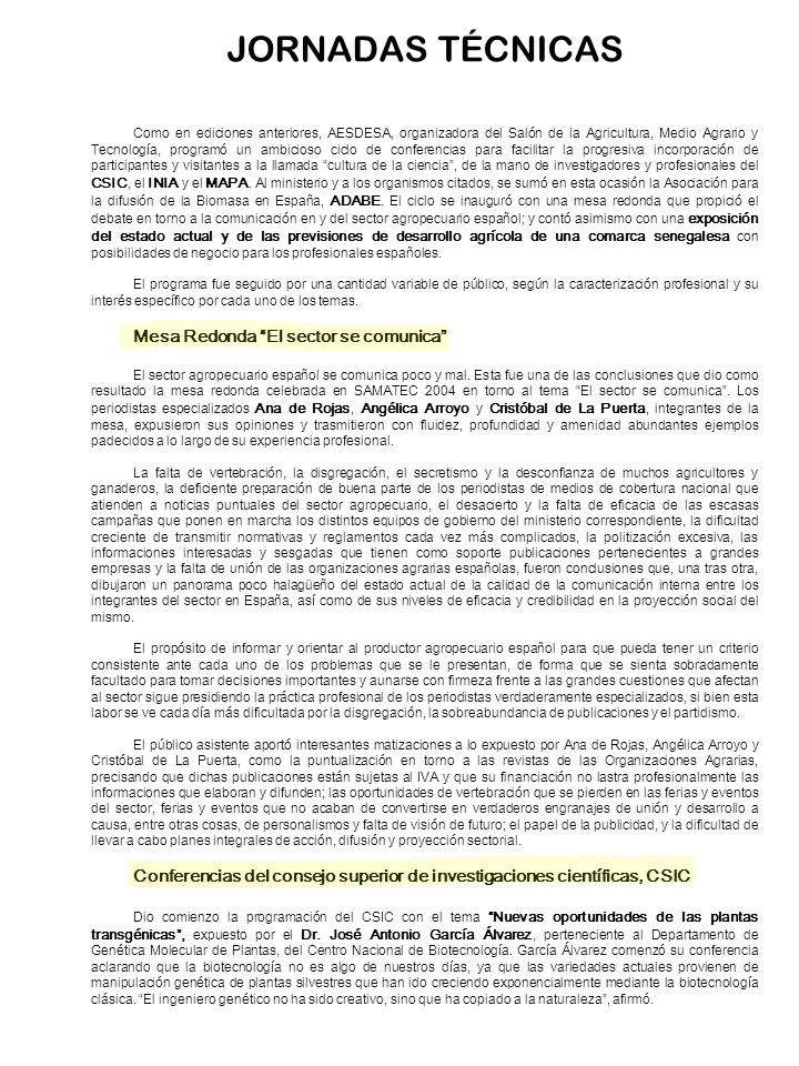 JORNADAS TÉCNICAS Mesa Redonda El sector se comunica