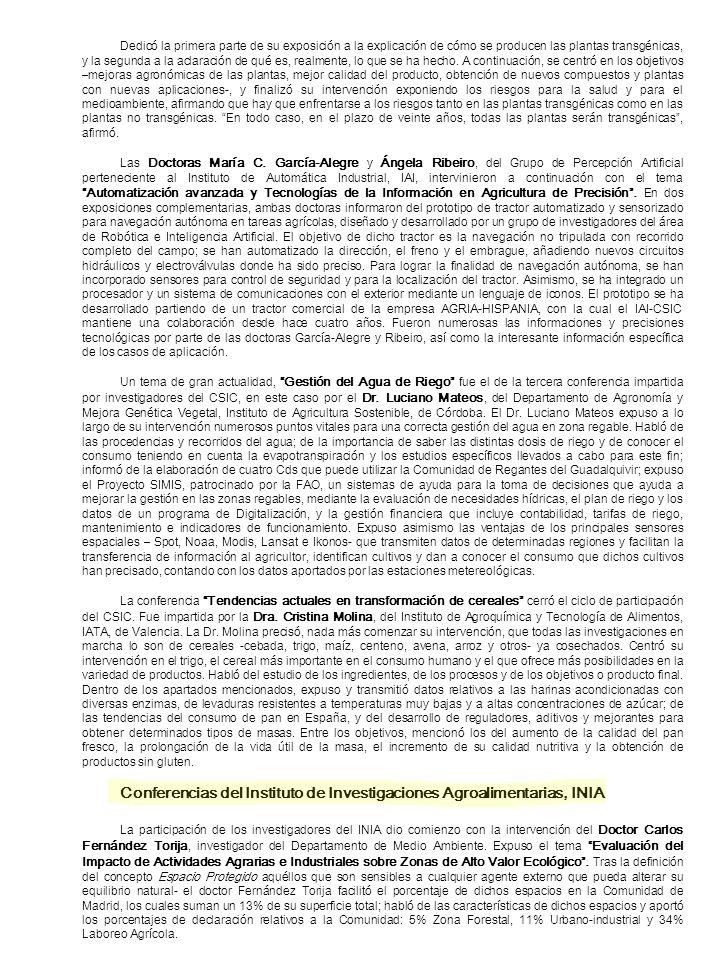 Conferencias del Instituto de Investigaciones Agroalimentarias, INIA