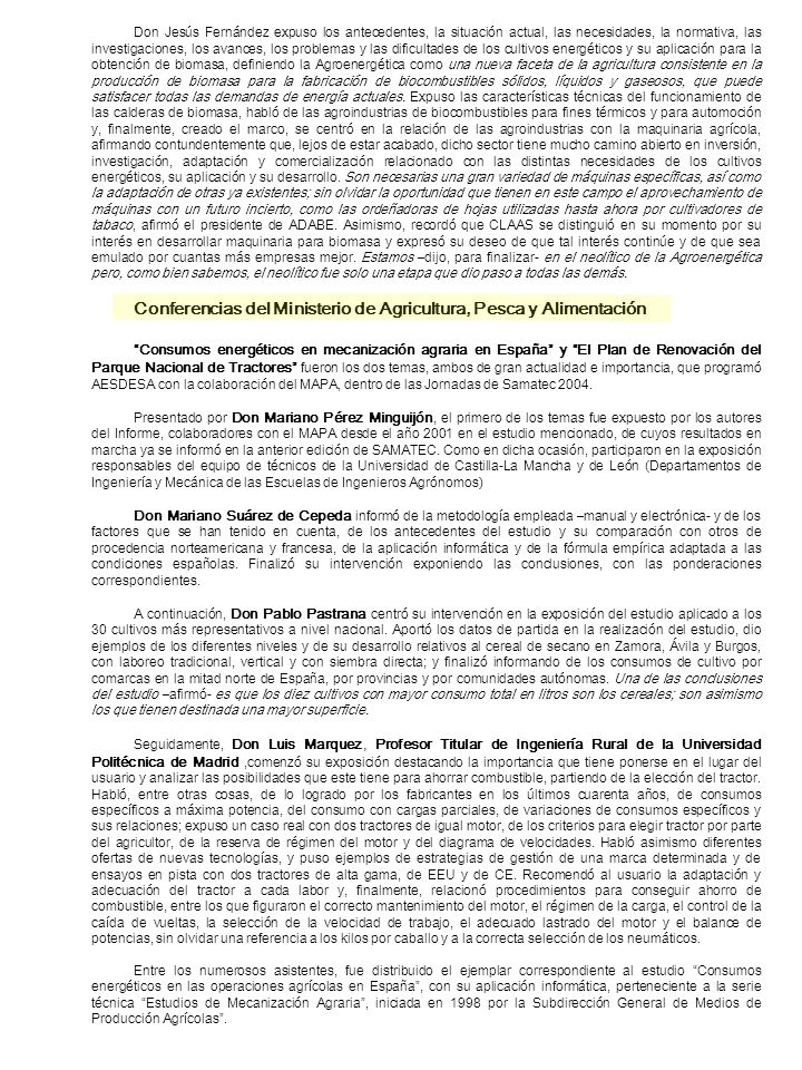 Conferencias del Ministerio de Agricultura, Pesca y Alimentación