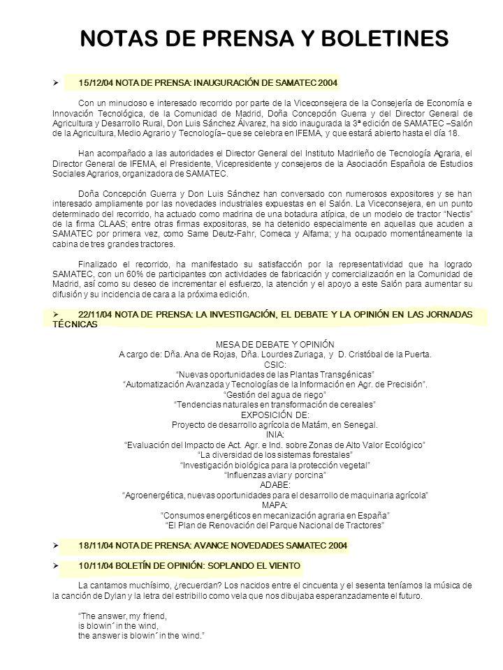 NOTAS DE PRENSA Y BOLETINES