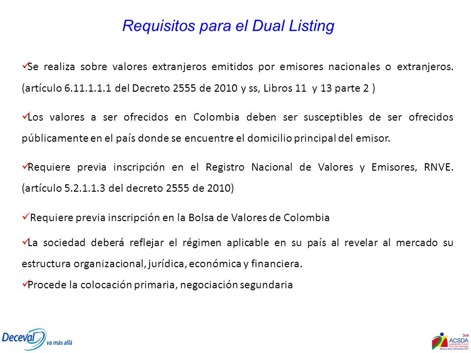 Requisitos para el Dual Listing
