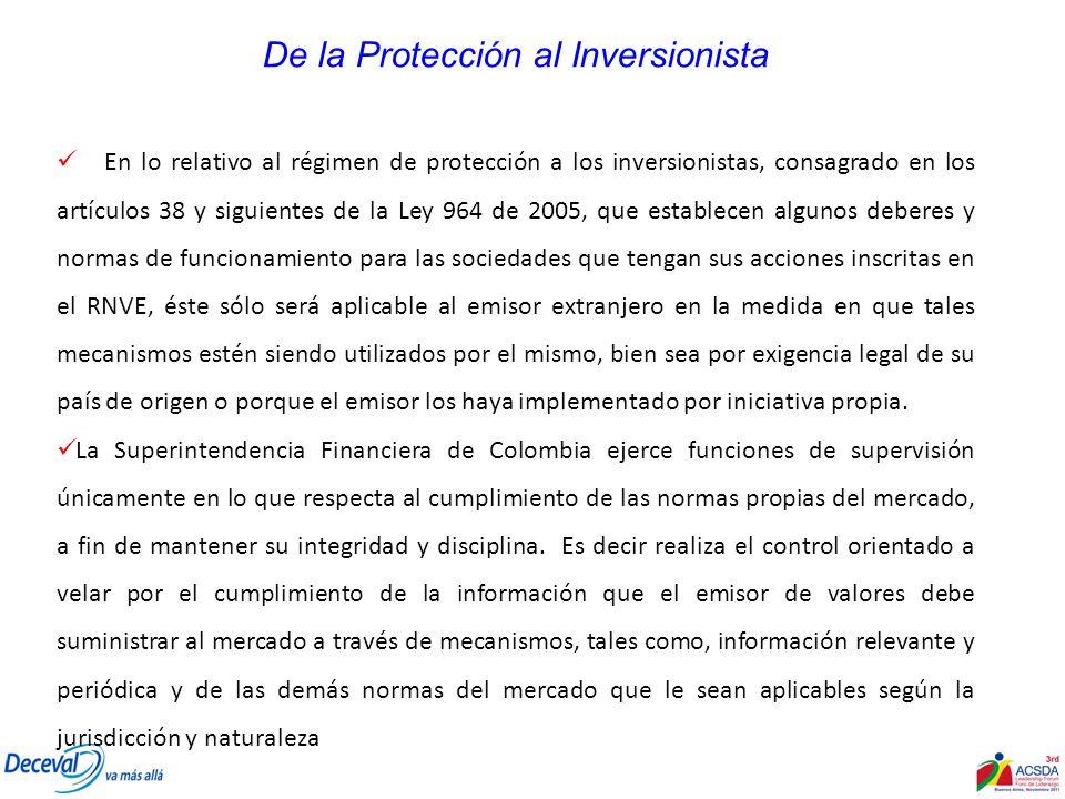 De la Protección al Inversionista