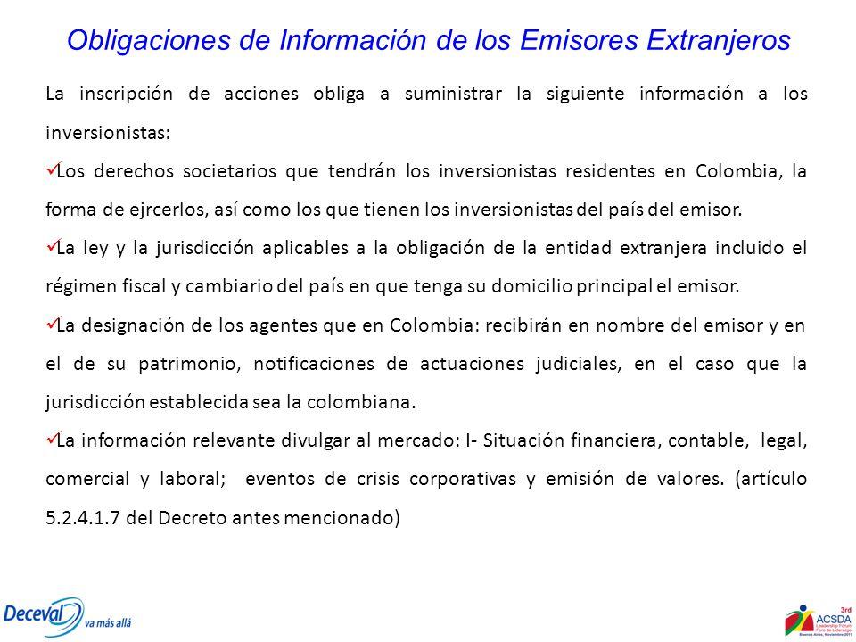 Obligaciones de Información de los Emisores Extranjeros