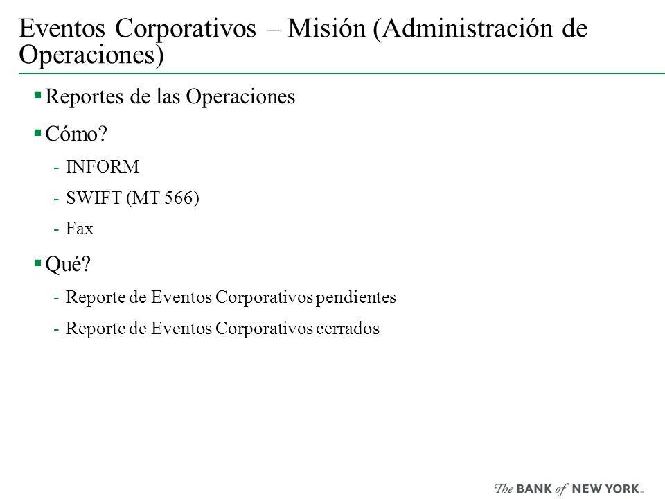 Eventos Corporativos – Misión (Administración de Operaciones)