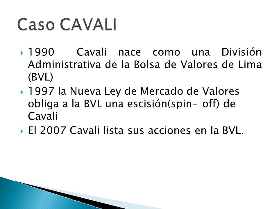 Caso CAVALI 1990 Cavali nace como una División Administrativa de la Bolsa de Valores de Lima (BVL)