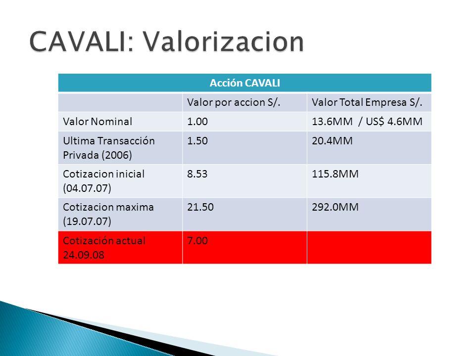 CAVALI: Valorizacion Acción CAVALI Valor por accion S/.