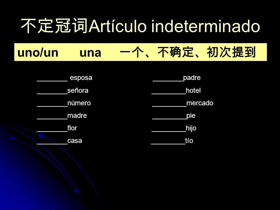 不定冠词Artículo indeterminado
