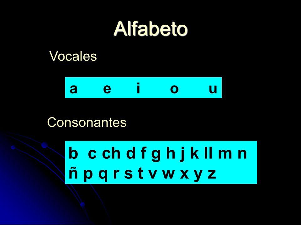 Alfabeto b c ch d f g h j k ll m n ñ p q r s t v w x y z a e i o u