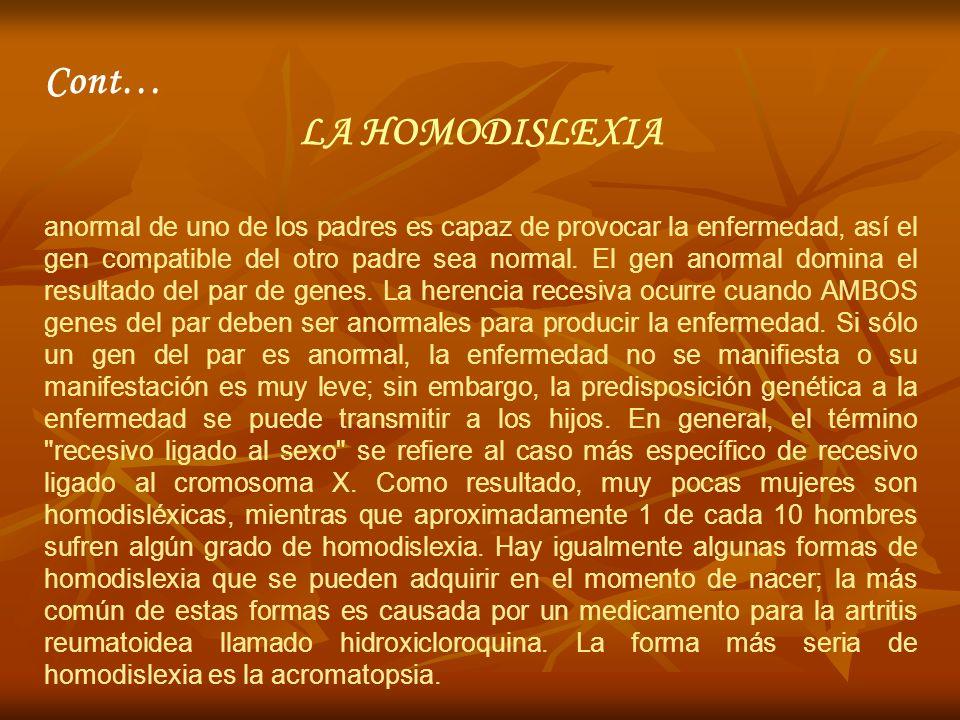 Cont… LA HOMODISLEXIA.