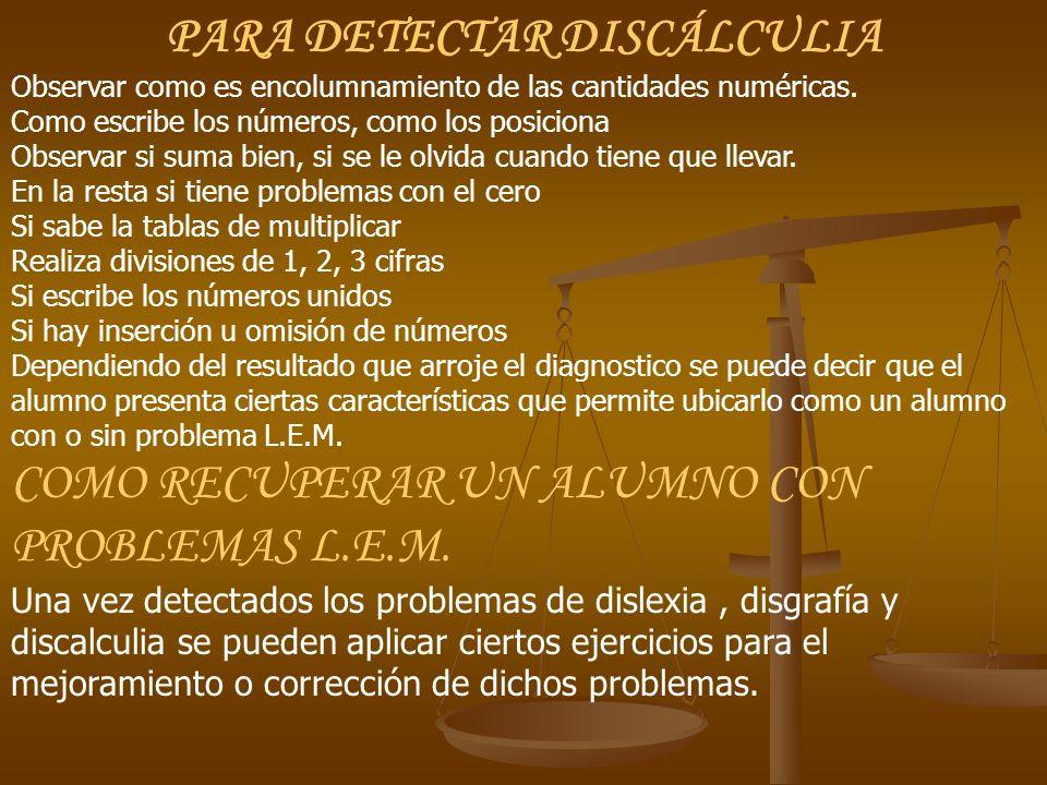 PARA DETECTAR DISCÁLCULIA