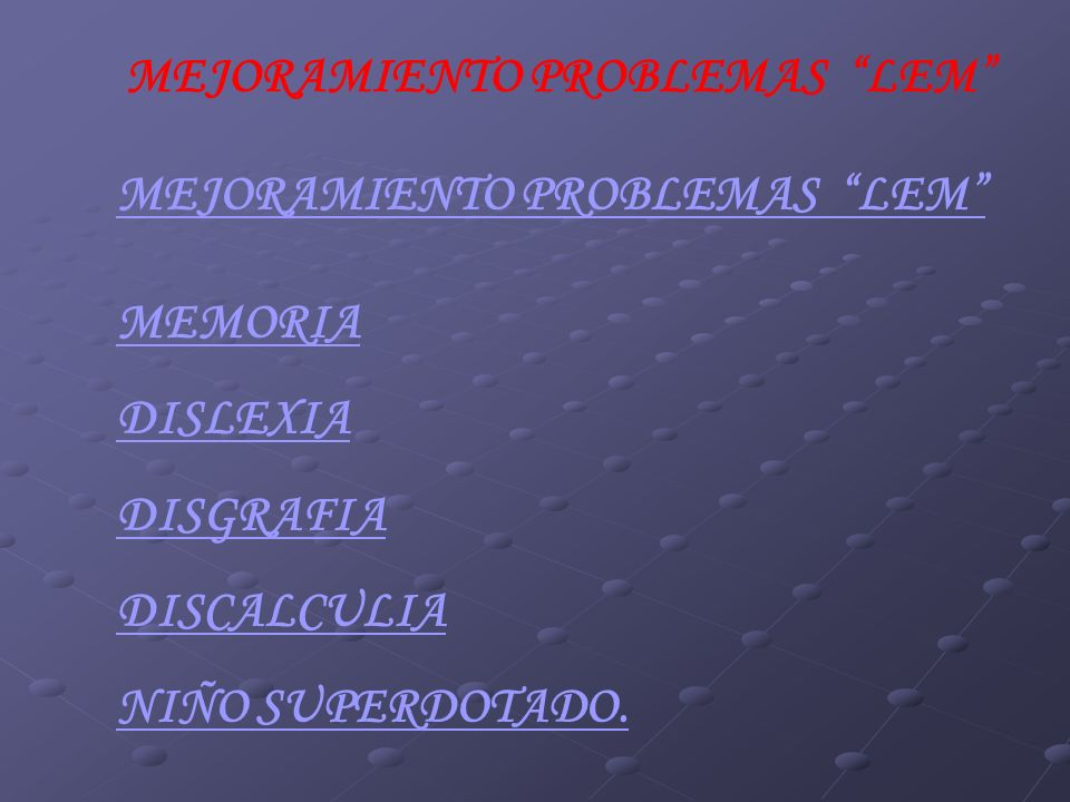 MEJORAMIENTO PROBLEMAS LEM