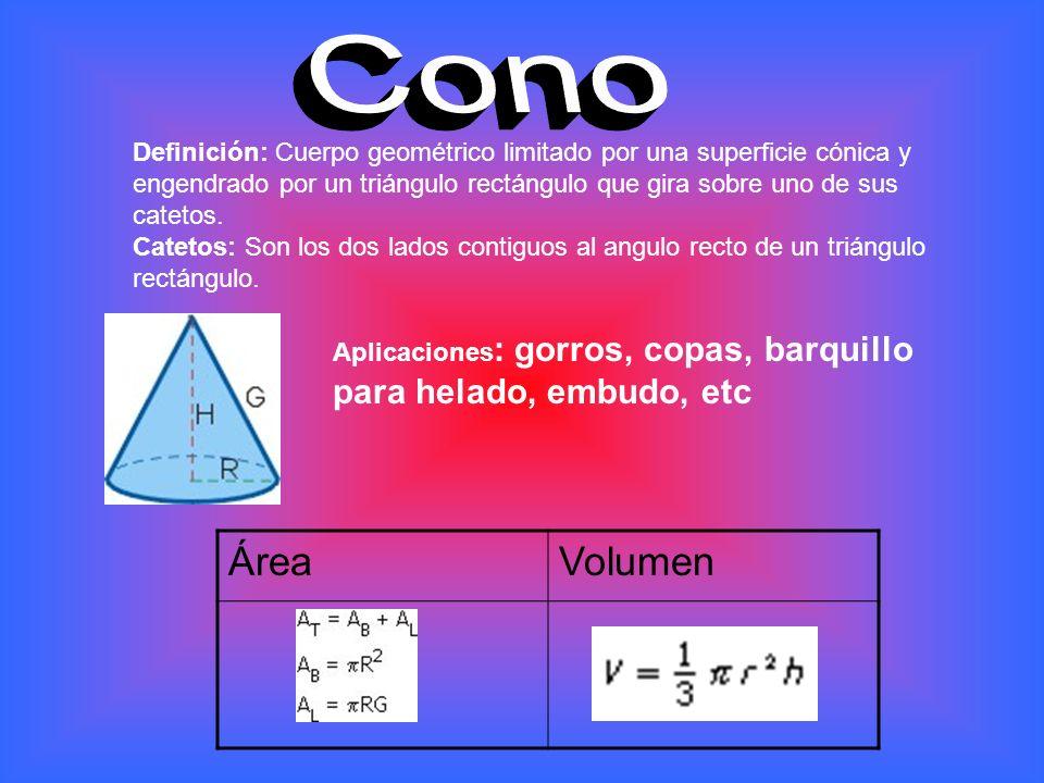 Cono Definición: Cuerpo geométrico limitado por una superficie cónica y engendrado por un triángulo rectángulo que gira sobre uno de sus catetos.