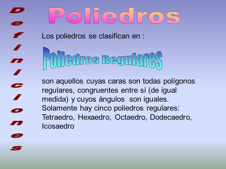 Poliedros Poliedros Regulares Los poliedros se clasifican en :