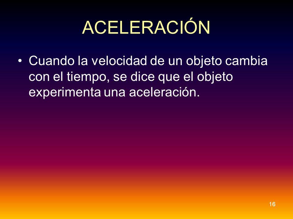 ACELERACIÓN Cuando la velocidad de un objeto cambia con el tiempo, se dice que el objeto experimenta una aceleración.