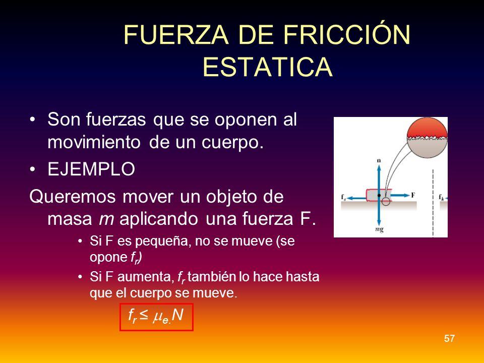 FUERZA DE FRICCIÓN ESTATICA