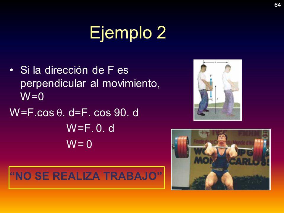 Ejemplo 2 Si la dirección de F es perpendicular al movimiento, W=0