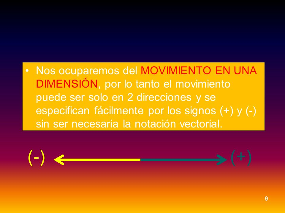 Nos ocuparemos del MOVIMIENTO EN UNA DIMENSIÓN, por lo tanto el movimiento puede ser solo en 2 direcciones y se especifican fácilmente por los signos (+) y (-) sin ser necesaria la notación vectorial.