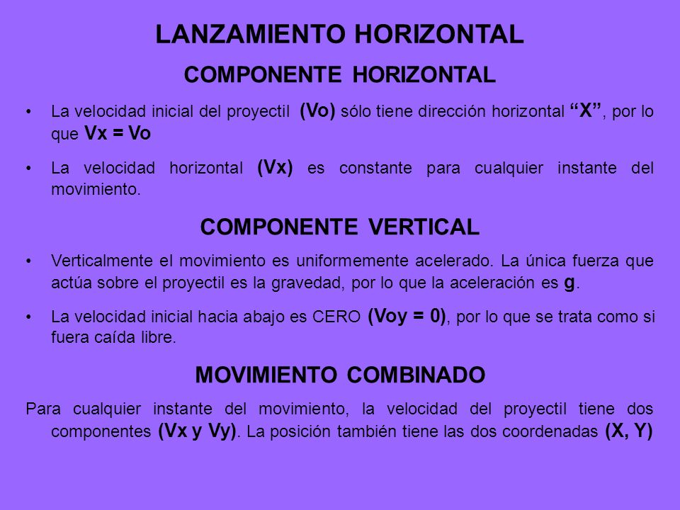 LANZAMIENTO HORIZONTAL COMPONENTE HORIZONTAL