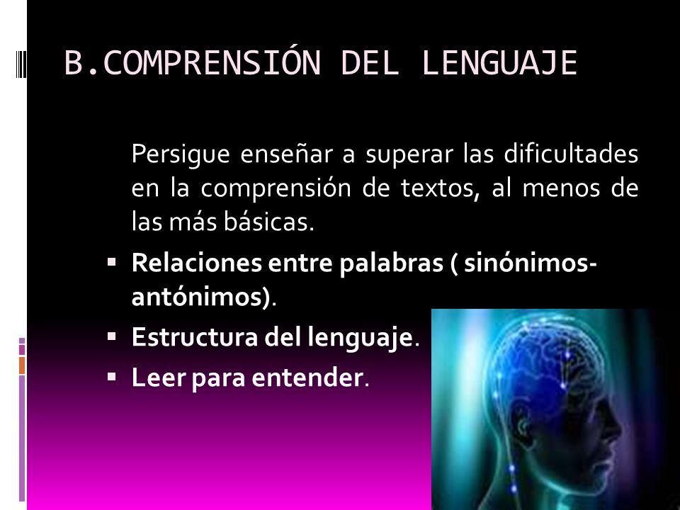 B.COMPRENSIÓN DEL LENGUAJE
