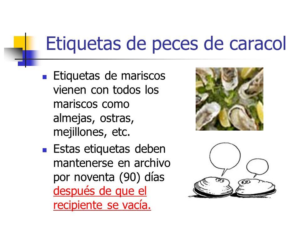 Etiquetas de peces de caracol