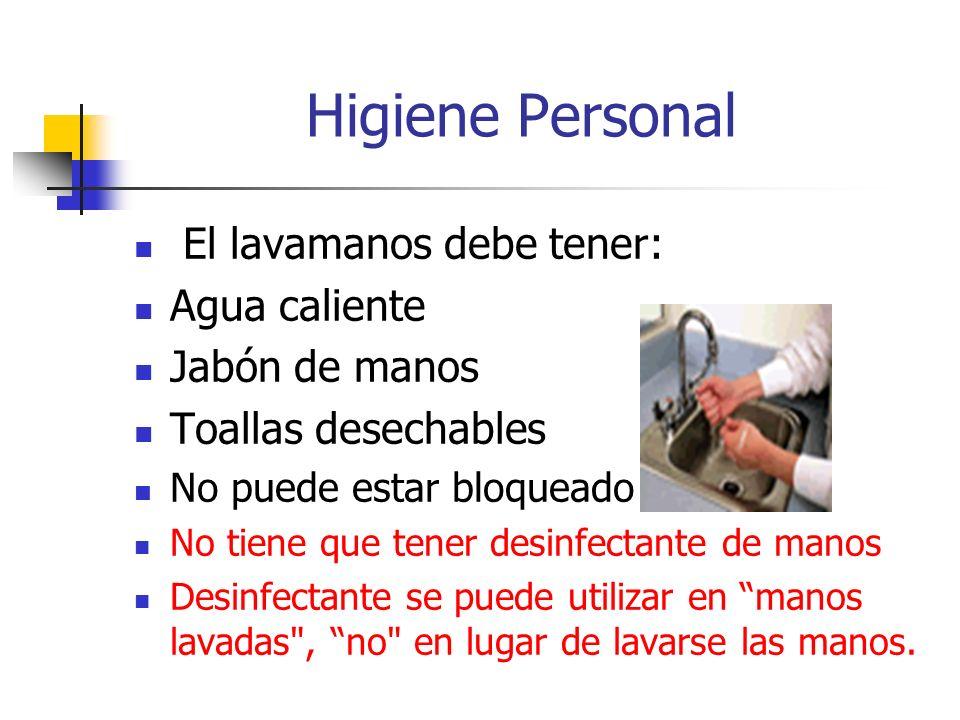 Higiene Personal El lavamanos debe tener: Agua caliente Jabón de manos