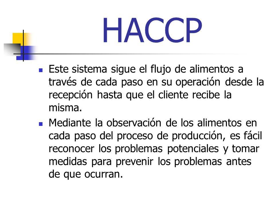 HACCP Este sistema sigue el flujo de alimentos a través de cada paso en su operación desde la recepción hasta que el cliente recibe la misma.