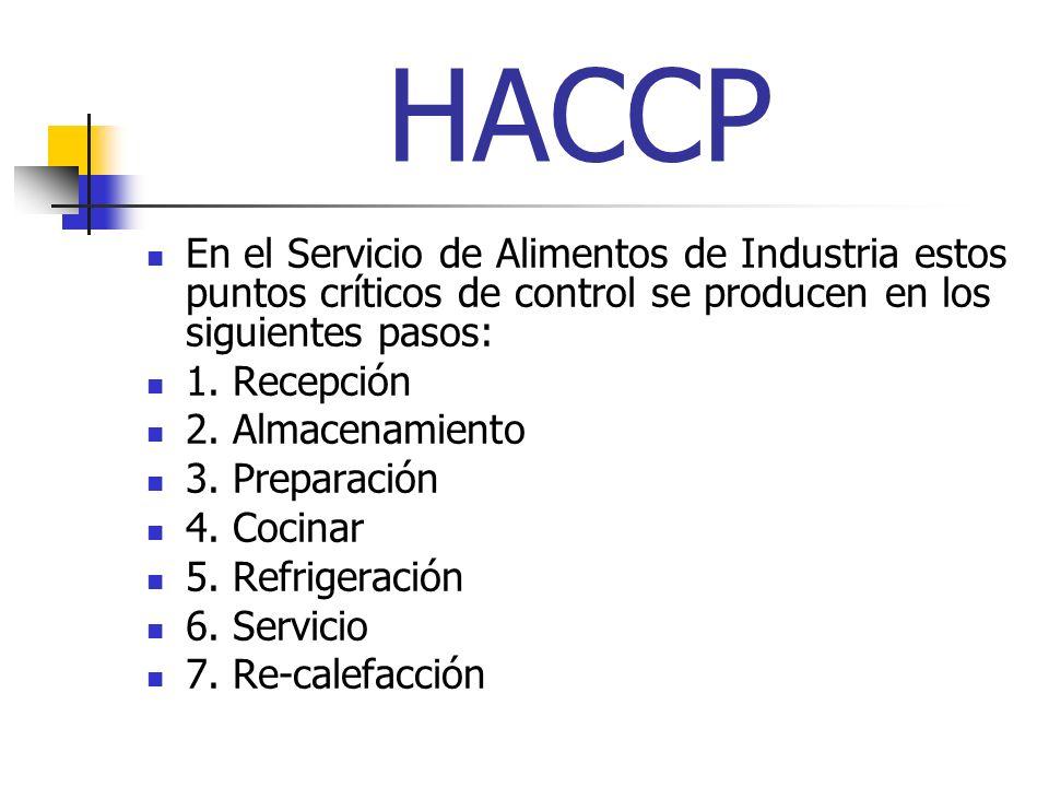 HACCP En el Servicio de Alimentos de Industria estos puntos críticos de control se producen en los siguientes pasos: