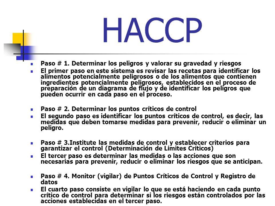 HACCP Paso # 1. Determinar los peligros y valorar su gravedad y riesgos.
