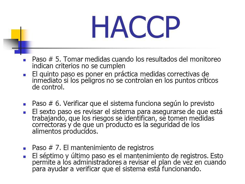 HACCP Paso # 5. Tomar medidas cuando los resultados del monitoreo indican criterios no se cumplen.