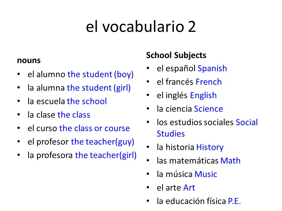 el vocabulario 2 School Subjects nouns el español Spanish