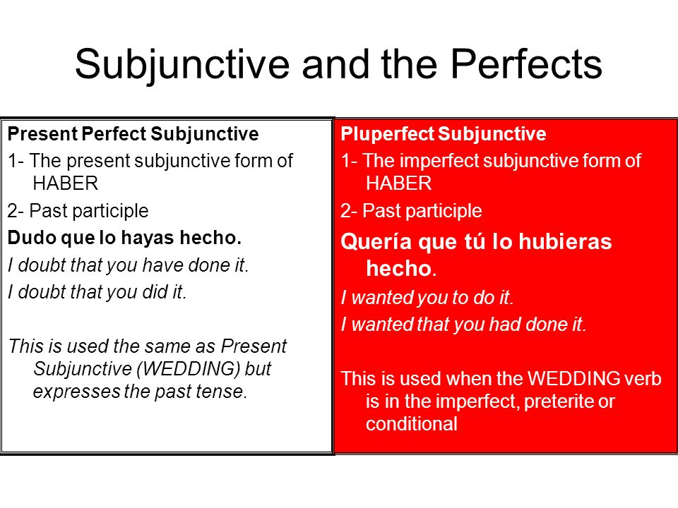 Subjunctive and the Perfects
