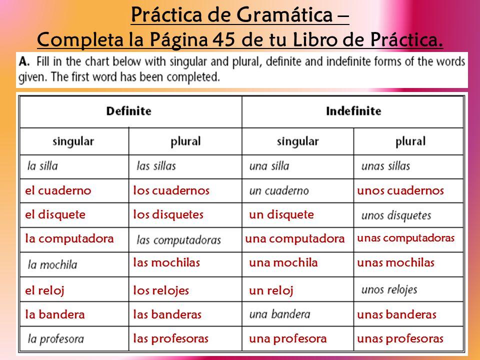 Práctica de Gramática – Completa la Página 45 de tu Libro de Práctica.