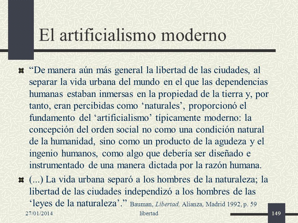 El artificialismo moderno