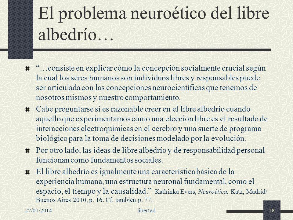 El problema neuroético del libre albedrío…