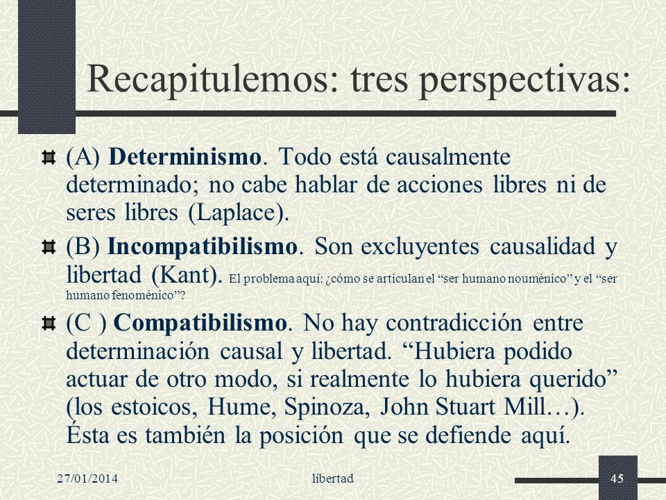 Recapitulemos: tres perspectivas: