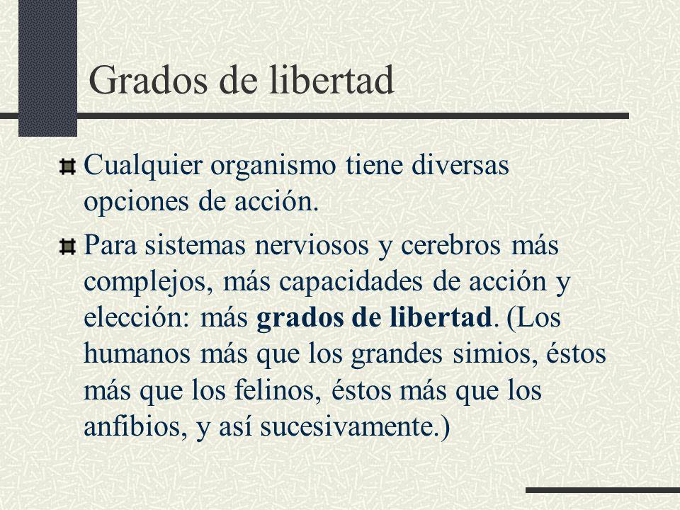Grados de libertad Cualquier organismo tiene diversas opciones de acción.