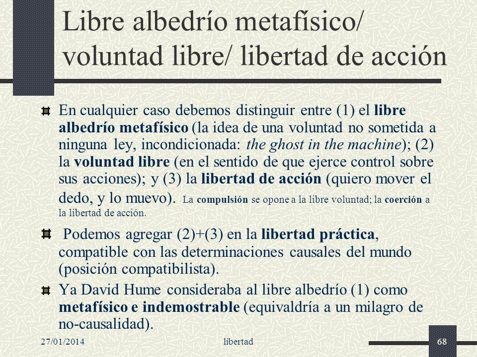 Libre albedrío metafísico/ voluntad libre/ libertad de acción