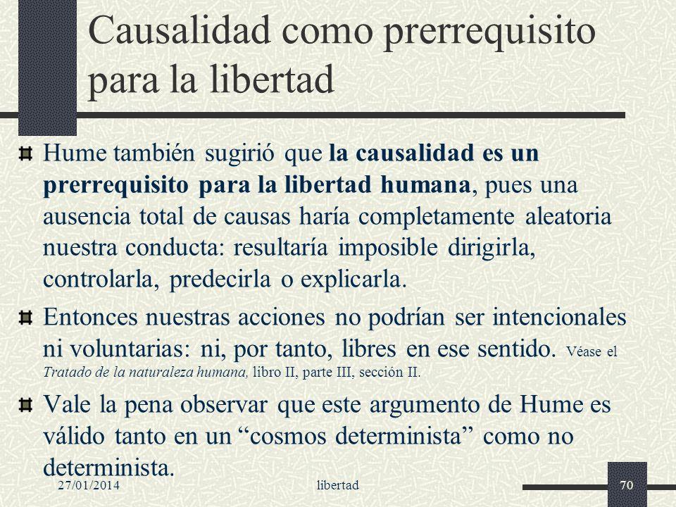 Causalidad como prerrequisito para la libertad
