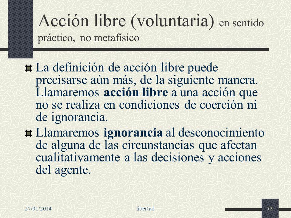 Acción libre (voluntaria) en sentido práctico, no metafísico